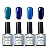 Esmalte de Uñas Semipermanente Uñas de Gel UV LED Kit de Manicura Serie de Color Azul 4pcs Manicura y Pedicura de Fairyglo-C013